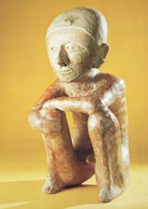 Chinesco Figure Man Mexican Wood Carving Primitive Art Postcard
