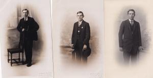 Men With Stopwatches 3x Antique Portrait Postcard s