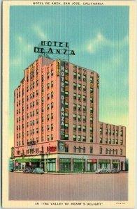 1940s San Jose, CA Postcard HOTEL DE ANZA Valley of Heart's Delight Linen