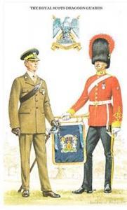 Royal Scottish Dragoon Guards Uniform Lieutenant Service Dress Postcard