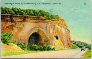 1943 Pacific, Missouri ROUTE 66 Roadside Postcard Picturesque Pacific Bluffs