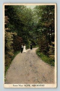 Hope AR, Scene, Road, People, Arkansas, Vintage Postcard