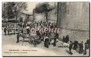 Postcard Old Guingamp March of Pigs pigs TOP