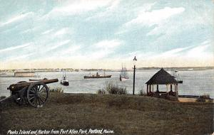 Portland Maine~Peaks Island~Harbor From Fort Allen Park~Cannon~Ships~1910 PC