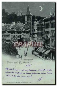 Old Postcard Switzerland St Gallen Marktgasse Map 1898