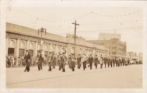 RP; Parade, WINNIPEG, Manitoba, Canada, 1931; Marching Band in front of build...