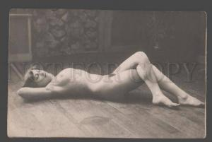 101264 NUDE Woman BELLE on rest Vintage Real PHOTO PC