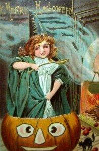 Vintage Halloween Postcard Sanders 1908 Original Embossed Witch Inside Pumpkin