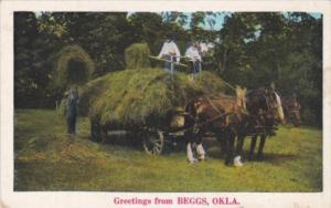 Oklahoma Greetings From Beggs Hay Being Loaded Unto Horse Drawn Wagon
