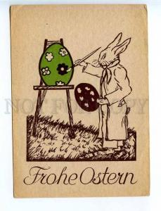 221917 GERMANY EASTER rabbit paints egg Vintage postcard