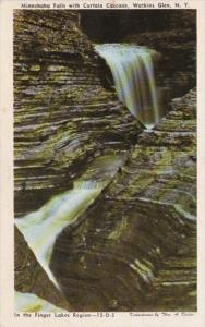 New York Watkins Glen Minnehaha Falls With Curtain Cascade 1956
