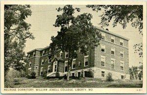 1940s Liberty, Missouri Postcard Melrose Dormitory, WILLIAM JEWELL COLLEGE