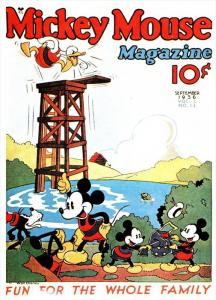 Disney Mickey Mouse Magazine Cover September  Donald Duck Life Guard