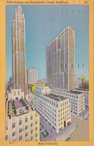 New York City Fifth Avenue and Rockefeller Center Buildings 1953