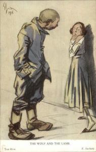 Anti-German WWI Propaganda The Wolf & The Lamb - THE HUN by E. Sachetti PC