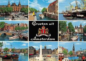 Netherlands GRoeten uit Amsterdam Tram Cars Monument Boats Ship Bridge