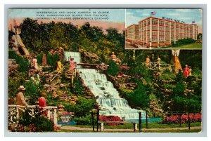 Olson Rug Factory, Chicago IL Waterfalls Garden c1920 Postcard M12