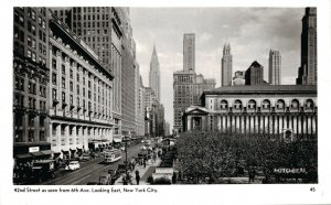 USA 42nd Street as seen from 6th Ave Looking East New York City RPPC 04.22