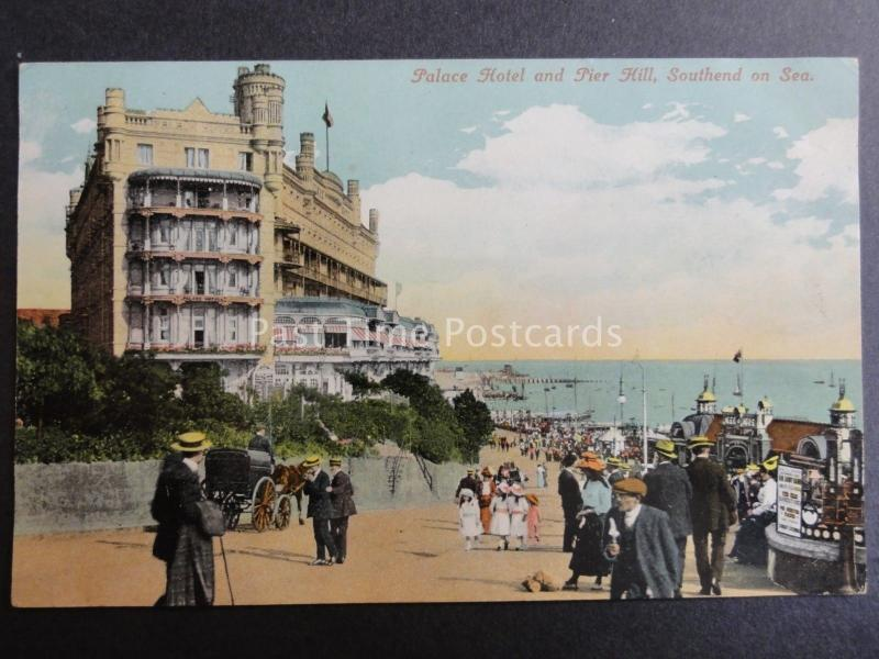 Essex SOUTHEND ON SEA Palace Hotel & Pier Hill c1906 Postcard