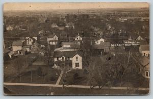 LeMars IA~Birdseye Past 2nd St N~Several Churches~Lean-To~Folksy Homes~RPPC 1910