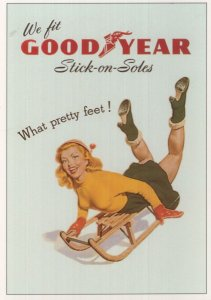 Good Year Stick On Soles & Ladies Heels Shoes Advertising Postcard