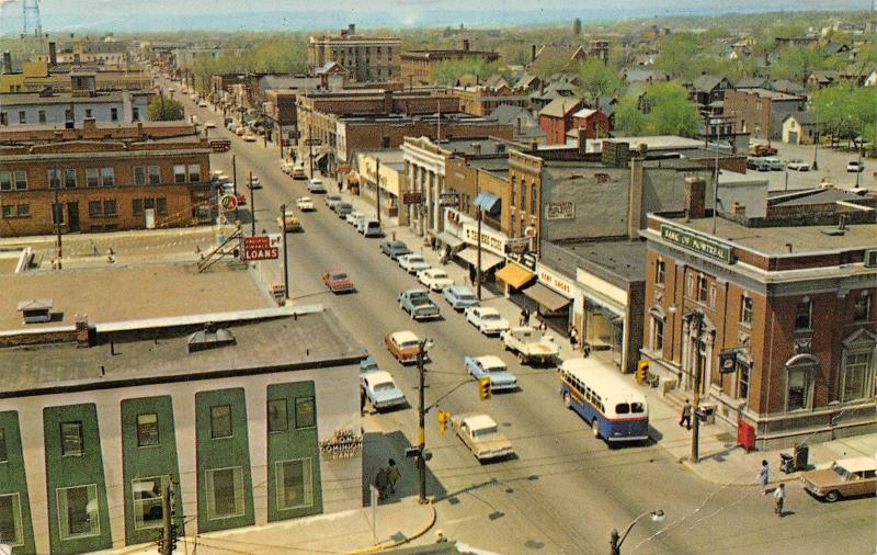 Sault Ste Marie ON Old Bank of Montreal~City Bus~PFC Loans~Gent Shoes 1950s Cars