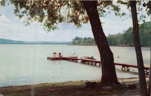 RICHFIELD SPRINGS NY CANADARAGO LAKE~PIER~SWIMMING~BOATING POSTCARD 1966 PSTMK