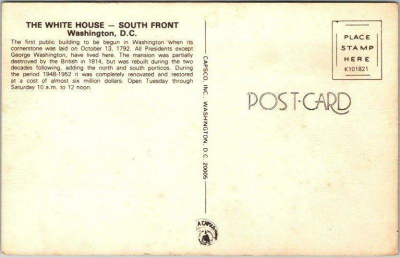 Vintage 1970s Washington DC Postcard WHITE HOUSE - South Front / Jimmy Carter