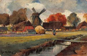 Netherlands Village Cottages Mill Postcard