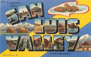 San Luis Valley Colorado~Large Letter Linen Postcard~Potatoes~Mountains~1940s