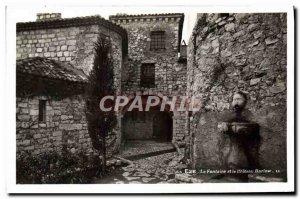 Old Postcard Cote d & # 39Azur Eze fountain and castle Barlow
