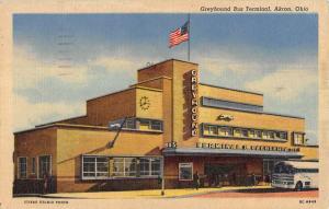 Akron Ohio Greyhound Bus Terminal Linen Antique Postcard K23564