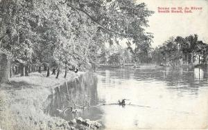 South Bend Indiana~St Jo River~Trees Hang over Riverbank~1910 B&W Postcard