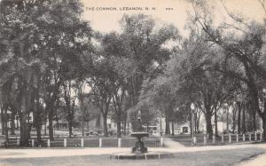 Lebanon New Hampshire~The Common~Vintage 1920s Cars~Fountain Torch Postcard