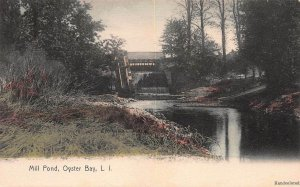 Mill Pond, Oyster Bay, Long Island, N.Y., Early Hand Colored Postcard, Unused