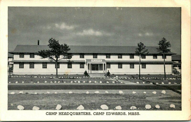 Vtg Postcard 1940s Camp Headquarters Building - Camp Edwards Massachusetts