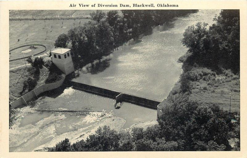 Blackwell OK~Air View of Diversion Dam~1943 B&W Postcard