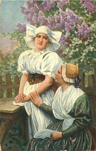 EASTERN EUROPEAN WOMEN IN TYPICAL CLOTHING POSTCARD c1910
