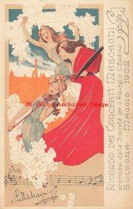 Advertising Postcard, Pietro Mascagni Concert, 1902 Bolgona Maggio, Art Nouveau