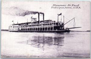 Dubuque, Iowa Postcard Steamer St. Paul Paddlewheel River Boat c1910s Unused