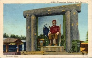 Brainerd MN~Animated Paul Bunyan Mural~Babe Blue Ox~Wishing Well 1940s Linen