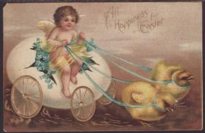 All Happiness For Easter,Egg Cart,Chicks Postcard