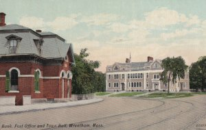 WRENTHAM, Massachusetts, 1900-1910's; Bank, Post Office And Town Hall