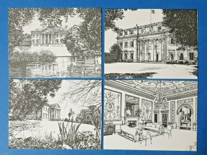 Set of 4 Hampshire Small Art Postcards, Broadlands Country House, Romsey GI9