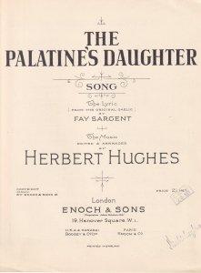 The Palatines Daughter Herbert Hughes Gaelic Irish Olde Sheet Music