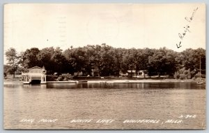 Whitehall Michigan~Pier on Long Point, White Lake~Ray's Home Hidden RPPC 1940s