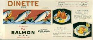 DINETTE BRAND canned SALMON - 1930s LABEL / Webster Grocer - DANVILLE IL