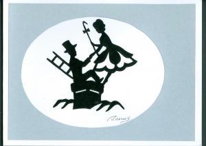 Denmark. 1 Card. Original  Paper Cut. H.C. Andersen.Motif.