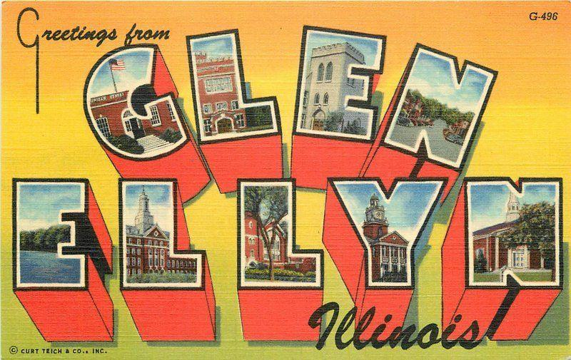 Aero 1940s Glen Ellyn Illinois Large Letters Multi View Teich linen 1057