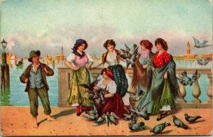 Vtg Cartolina 1900s Pittura - Alimentare The Pigeons Vittorio Tessari - Unp